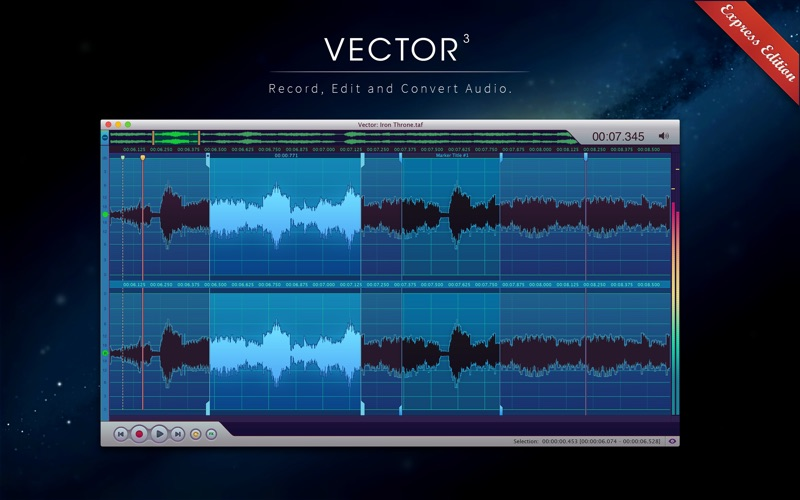 Vector 3 Express: Audio Editor скриншот программы 1