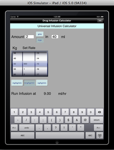 anesthesia infusion calculator - náhled