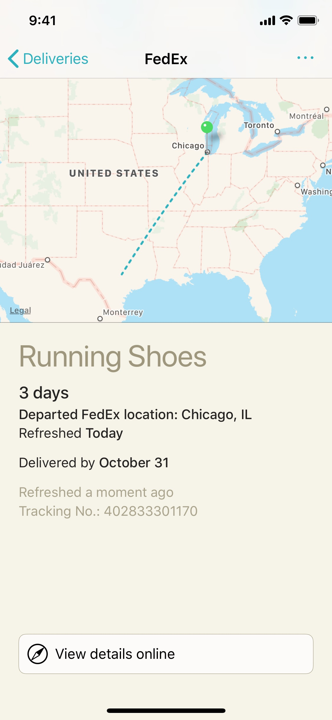 Screenshot do app Deliveries: a package tracker