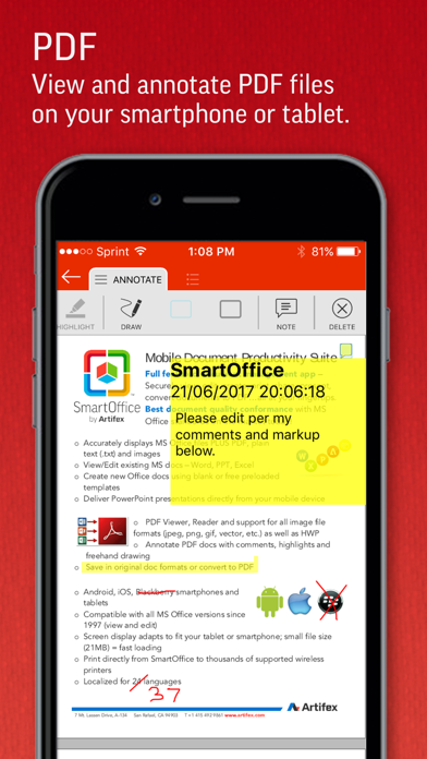 SmartOffice - Document Editing Screenshots