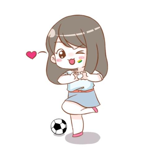 Cute football girl stickers