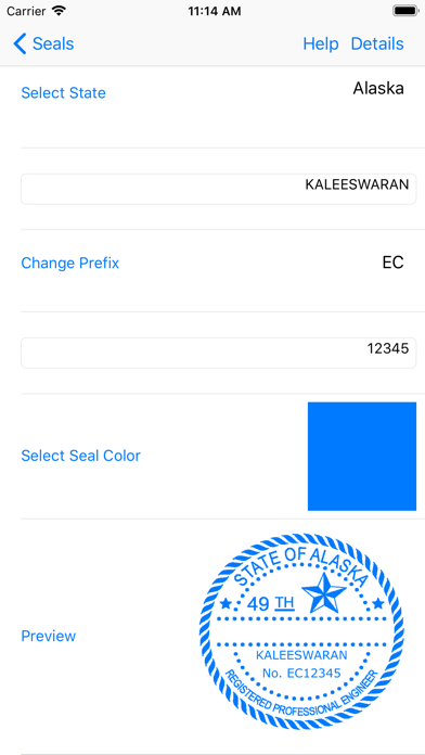Screenshot of Engineer Seals App