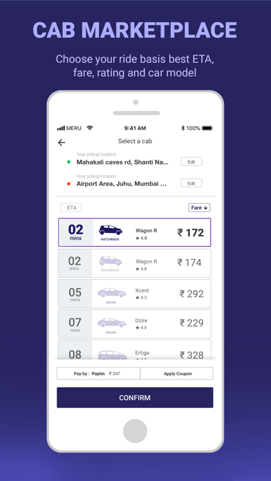 Meru Cabs-Local and Outstation screenshot two