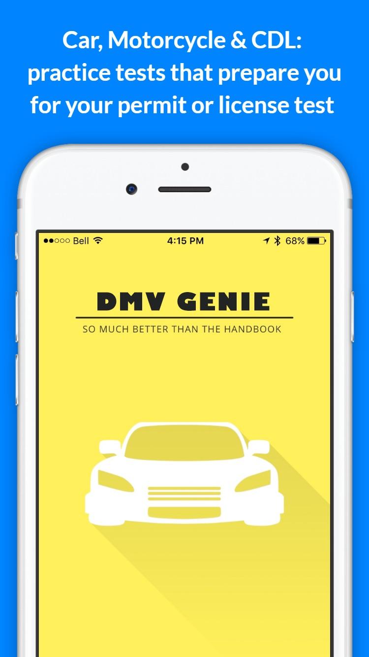 DMV Genie Permit Practice Test Screenshot