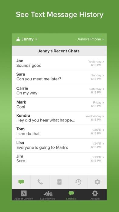 SaferKid Text Monitoring App Screenshot