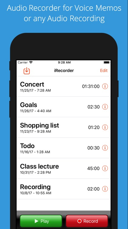 iRecorder Pro Audio Recorder screenshot-0