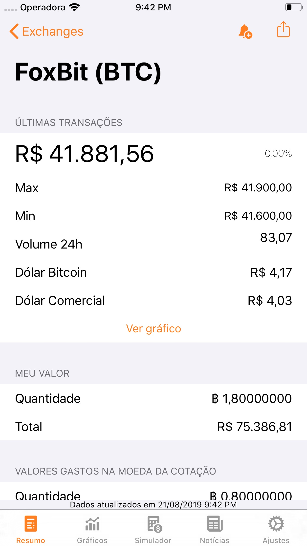 Screenshot do app Bitcoin Sentinel
