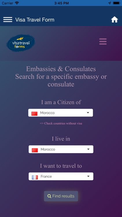 VISA travel forms and tools