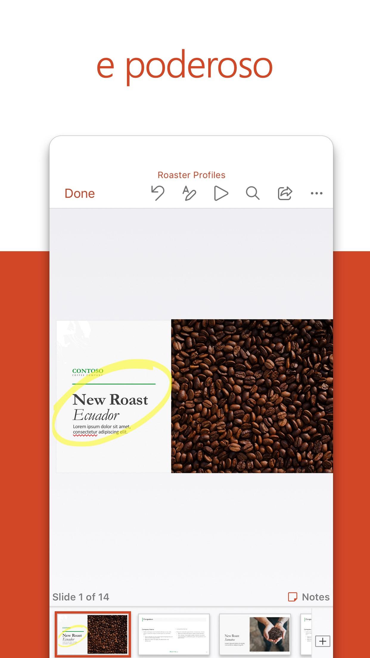 Screenshot do app Microsoft PowerPoint