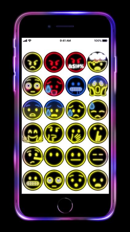 Neon Emoji iStickers Animated screenshot-3