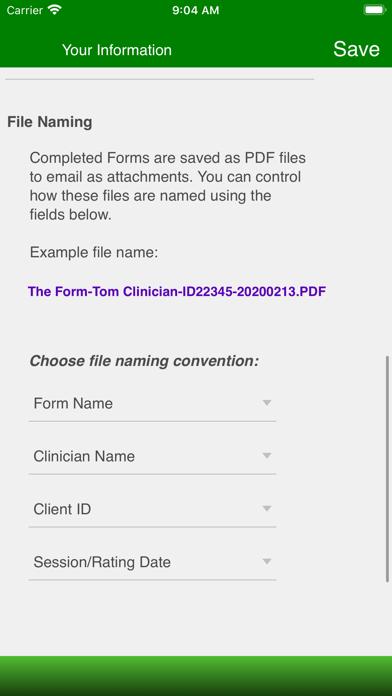 Therapist Forms Screenshot
