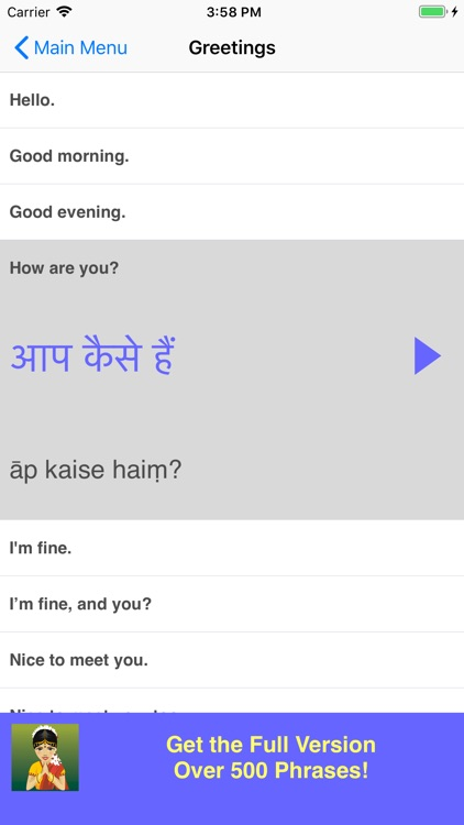 Speak Hindi Travel Phrase Lite