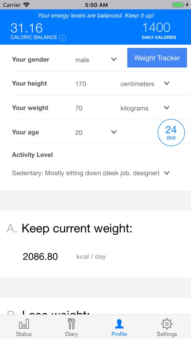 Scientific Diet Clock Screenshots