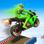 Super héros de moto cascades