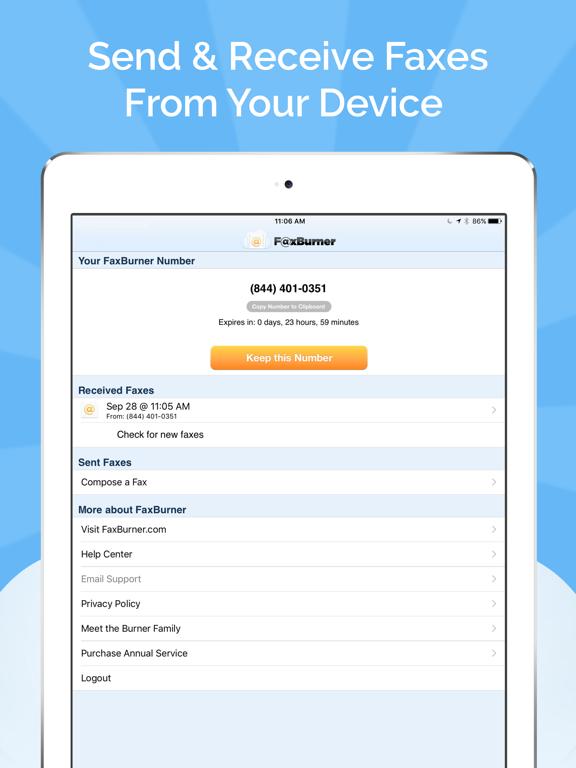 Fax Burner - Send & Receive Faxes screenshot