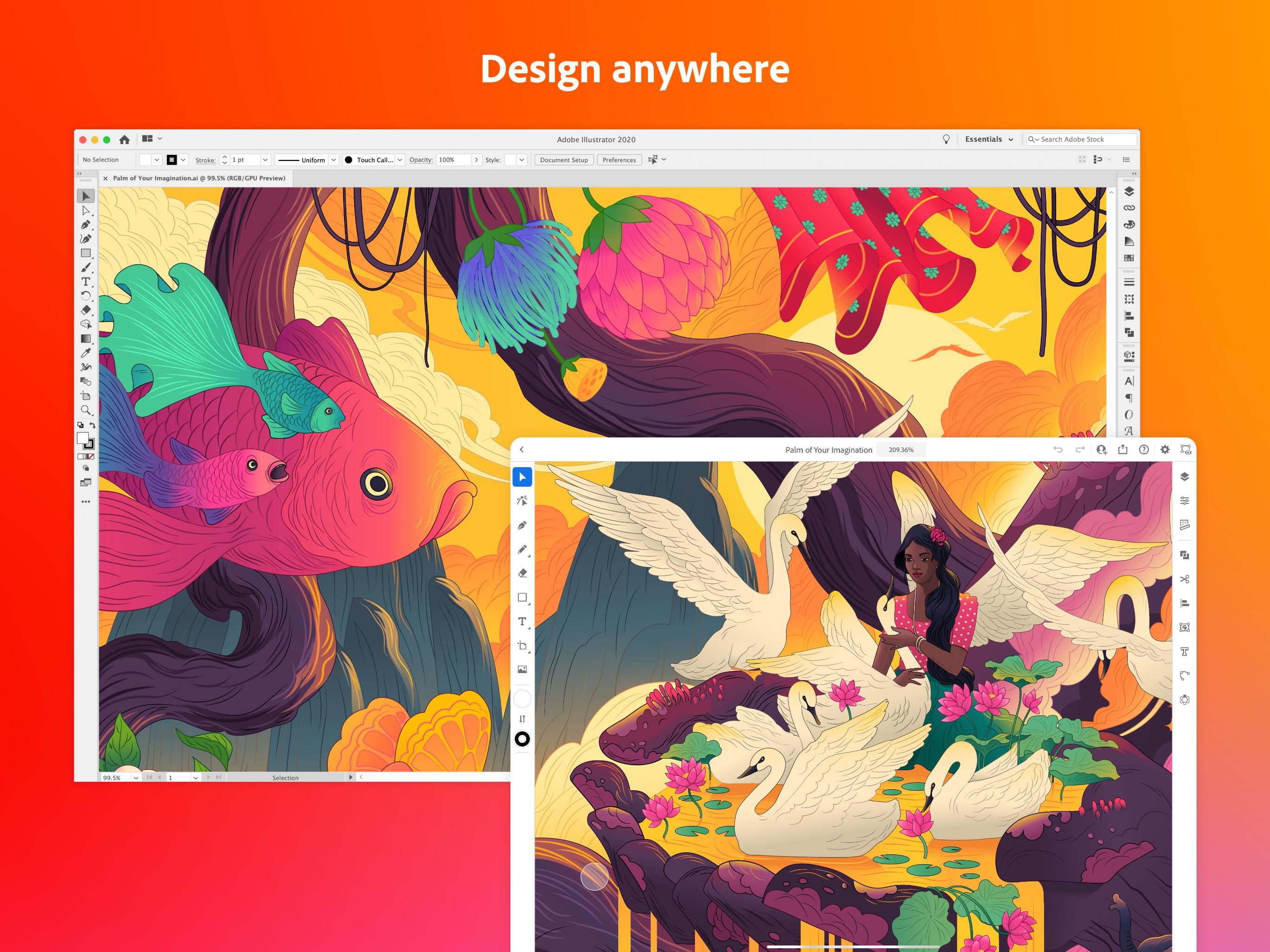 Screenshot do app Adobe Illustrator: Graphic Art