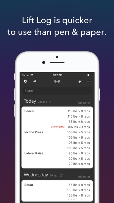 Lift Log - Simplest Weightlifting Log, Workout Tracker & Exercise Journal for Bodybuilding and Strength Training screenshot