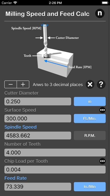Milling Speed and Feed Calc screenshot-4