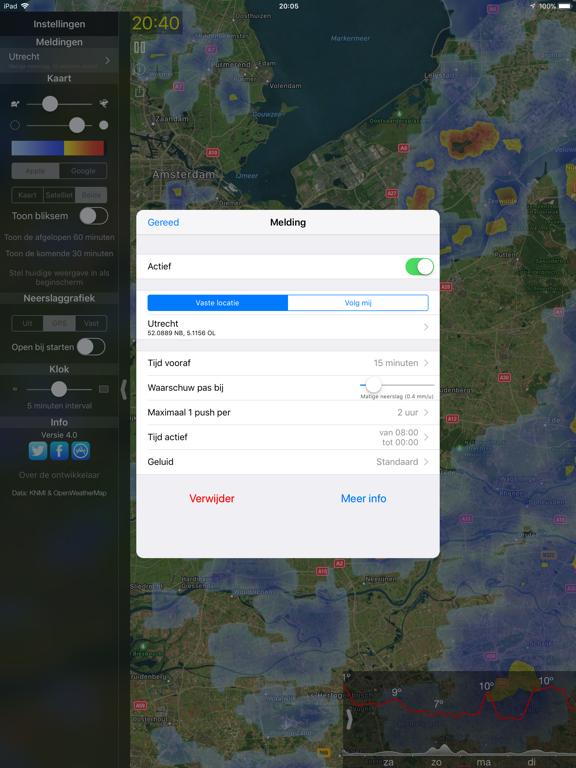 Regenmelding iPad app afbeelding 5