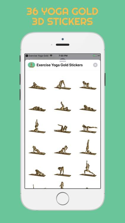 3D Exercise Yoga Gold Stickers screenshot-3