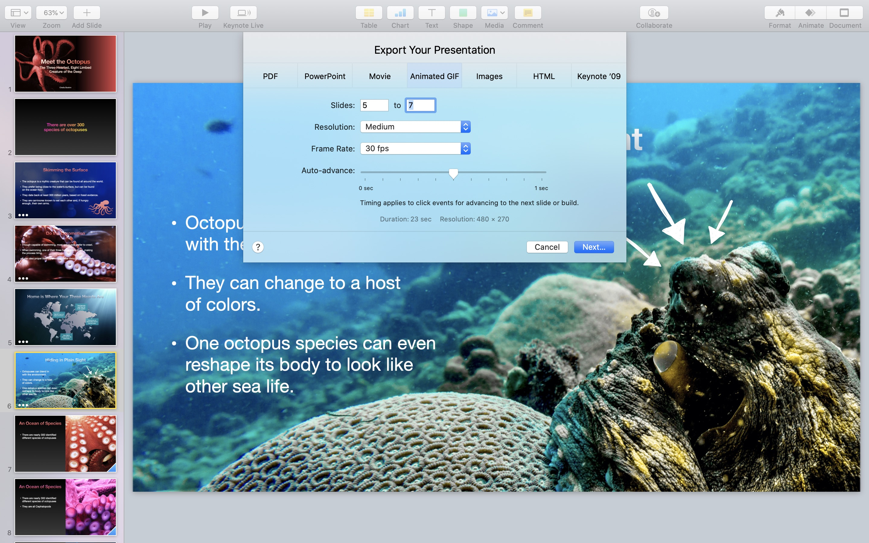 Screenshot do app Keynote