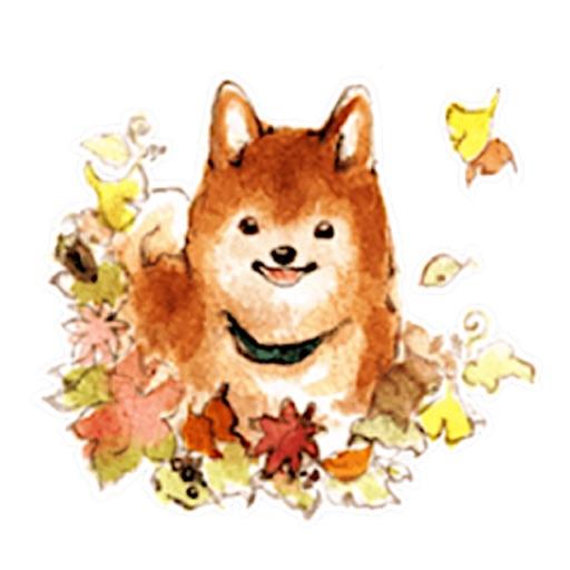 Watercolor Cute Shiba Inu Dog