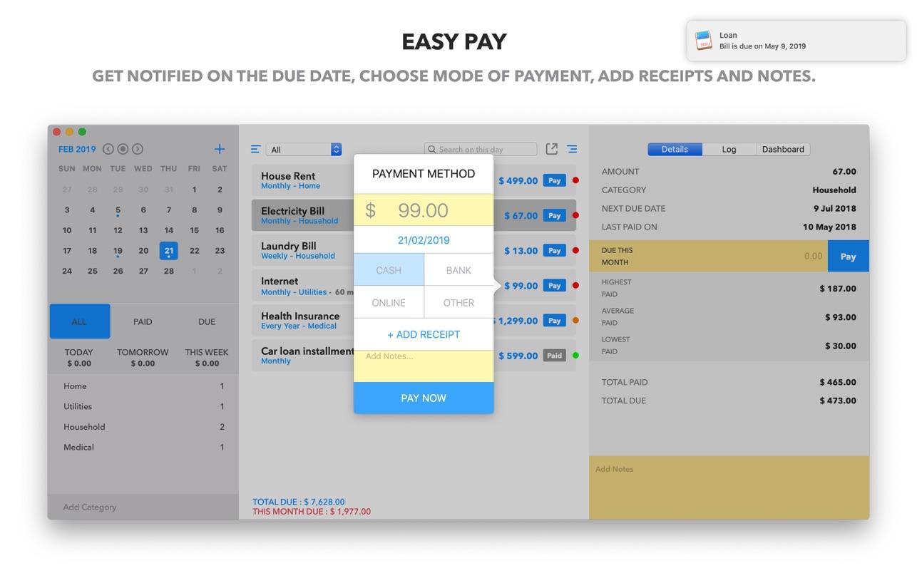 Bill Express Mac 破解版 付款及计划账单管理