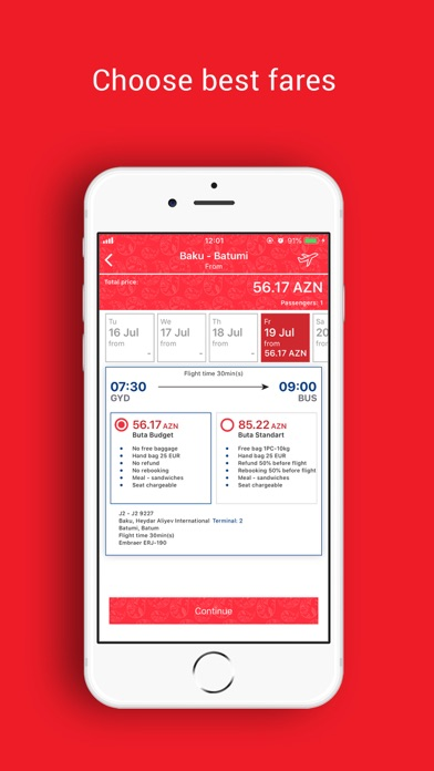 Screenshot for Buta Airways in Azerbaijan App Store