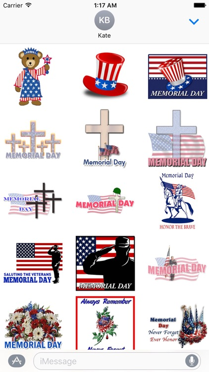Happy Memorial Day Sticker Set