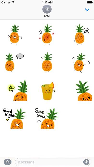 Cute Pineapple Emoji Sticker screenshot 3