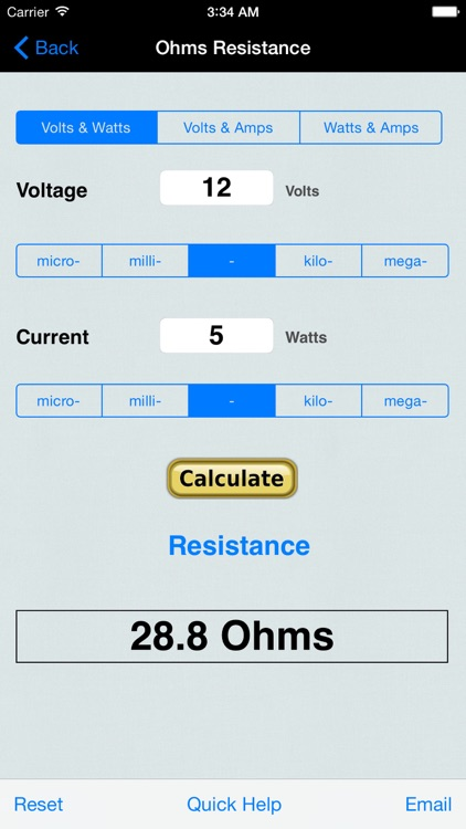 Ohm's Law for Power EduCalc