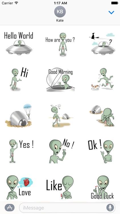Green Alien Alienmoji Sticker