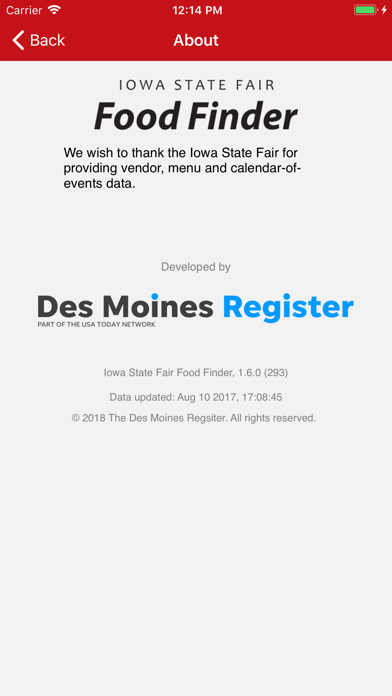 Iowa State Fair Food Finder Screenshot