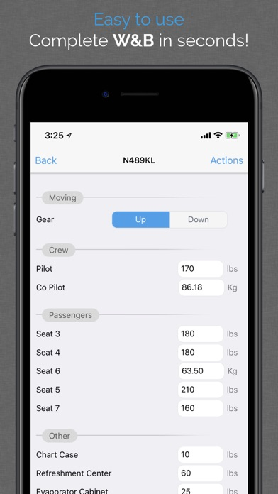 Aviation W&B Calculator Screenshots