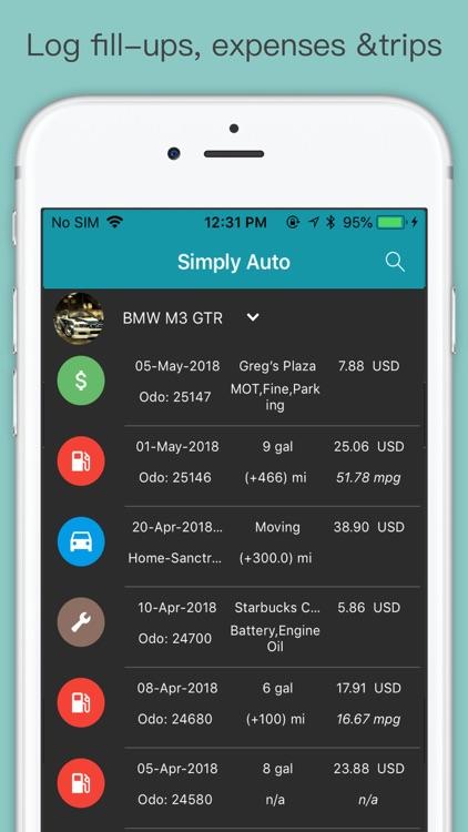 Simply Auto -Fuel, Mileage Log