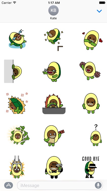 Animated Avocado Emoji Sticker