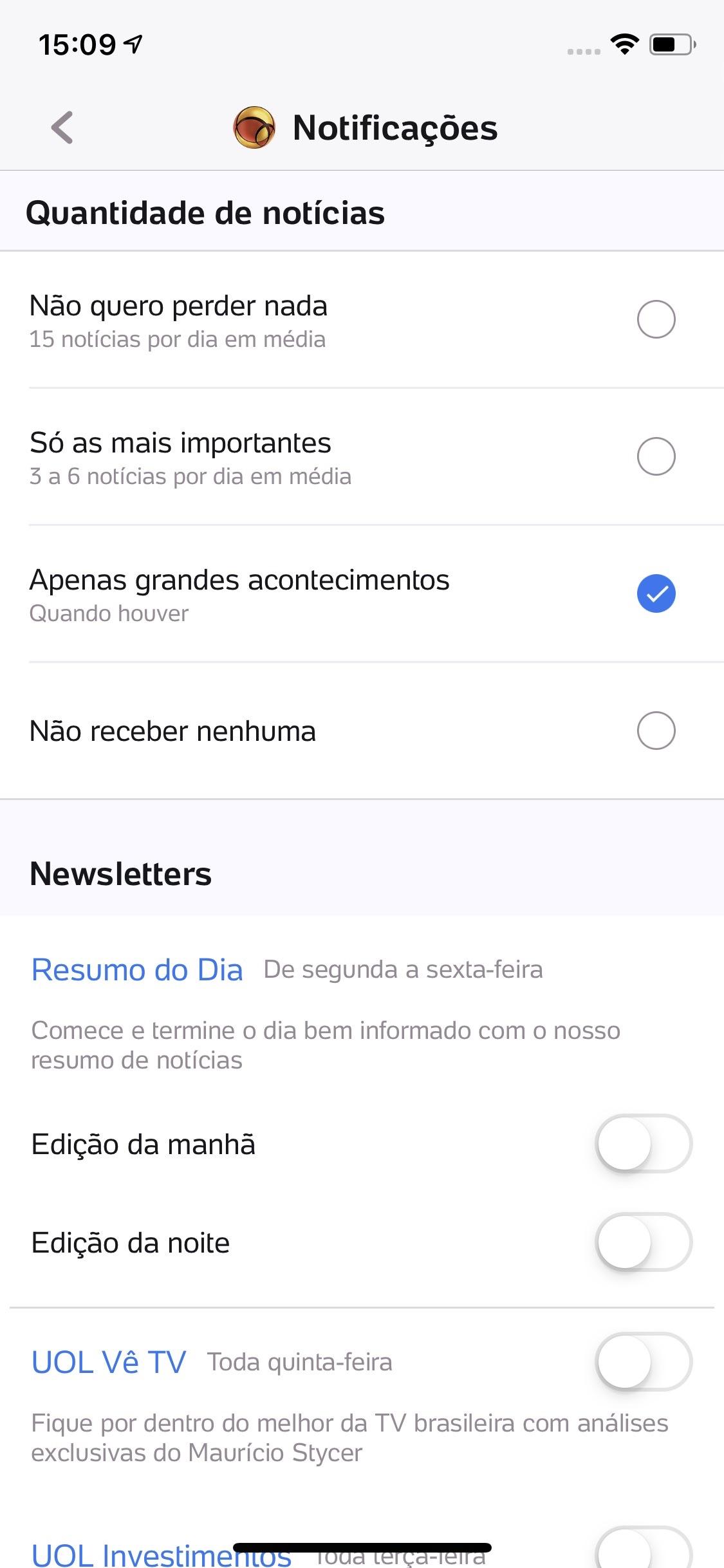 Screenshot do app UOL - Notícias em Tempo Real