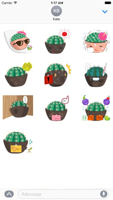 Lovely Cactus Emoji Sticker screenshot 3