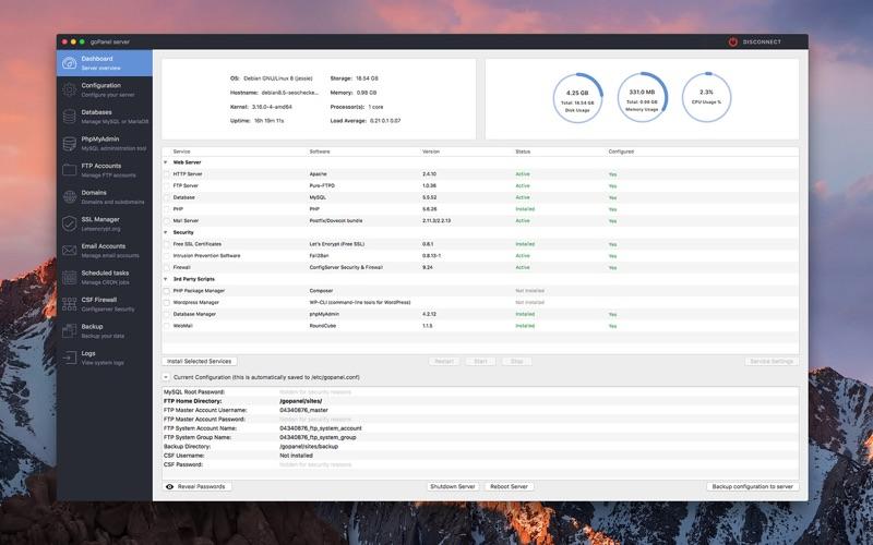 Скриншот №3 к goPanel 2 - Web Server Manager для Mac