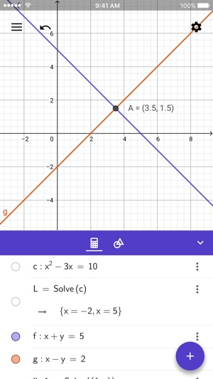 GeoGebra Grafikrechner Screenshot