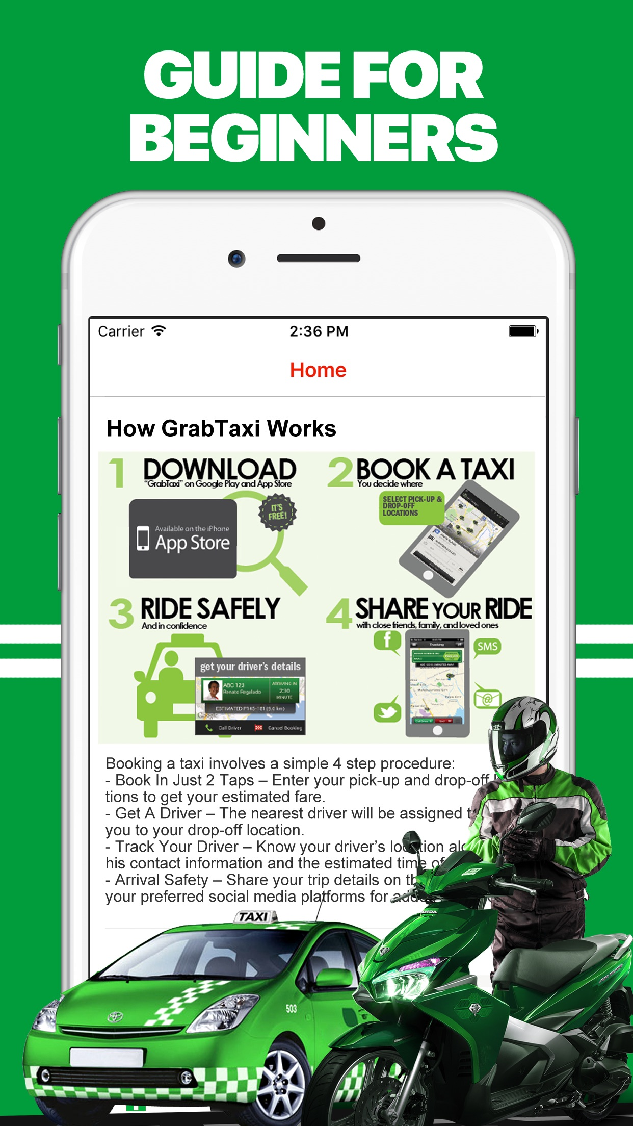 App for Grab Taxi Drivers Screenshot