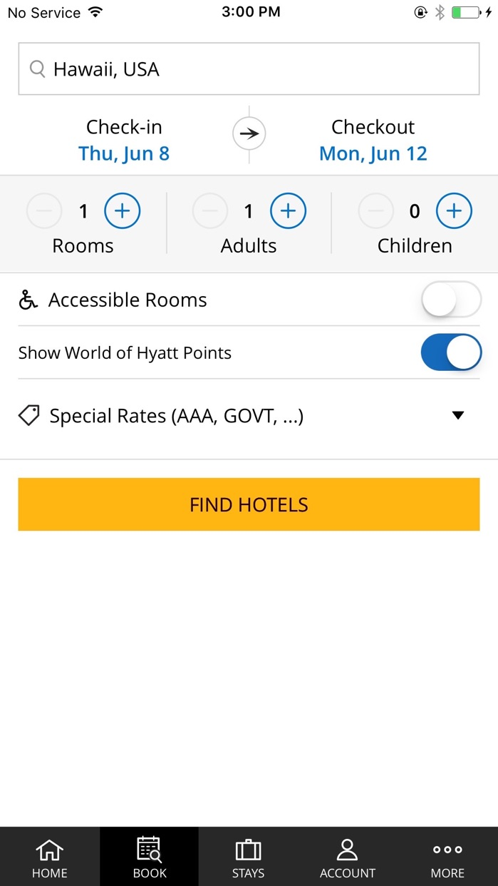 Hyatt Hotels Screenshot