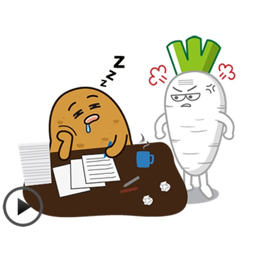 Animated Daily Office Working Of Potato Stickers
