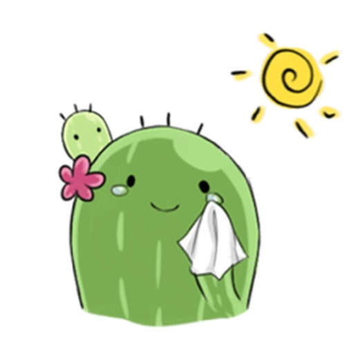 Cute Cactus with Pink Flower Emoji Sticker