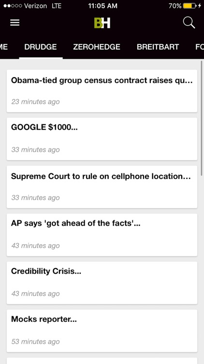 Breitbart + ZeroHedge + Drudge Report + Fox News screenshot-4