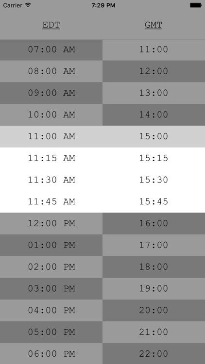 TimeTable - GMT, UTC, Zulu Time Zone Conversions screenshot-4