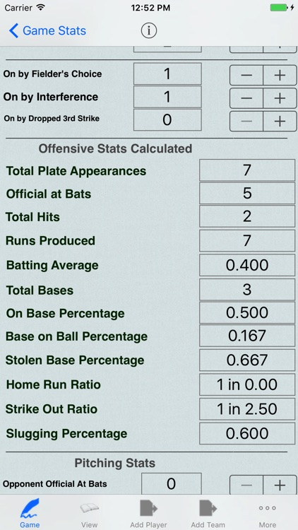 Baseball Player Stats Tracker for Game Statistics