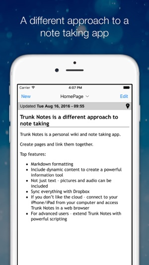 Trunk Notes Personal Wiki Screenshot