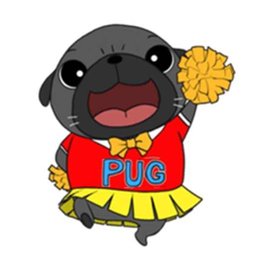Cute Black Pug Dog Sticker