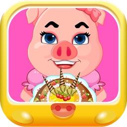 粉红小猪做生日蛋糕